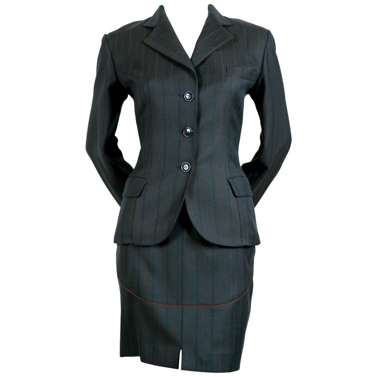 Azzedine Alaia forest green suit with burgundy piping, 1990