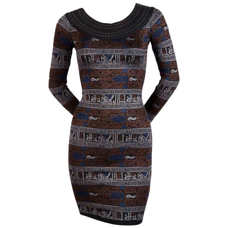Alaia dress with Arabic calligraphy in the Kufic script, 1990
