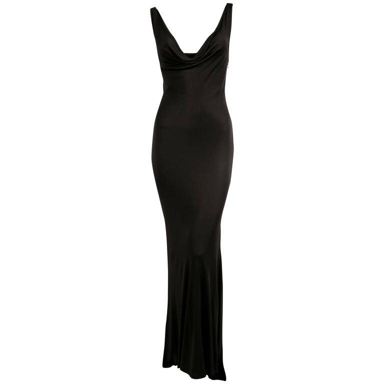 Alexander McQueen black draped bias cut dress with chain detail, 2000s