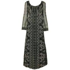 1970s Alfred Bosand Black Metallic Glitter Maxi Dress