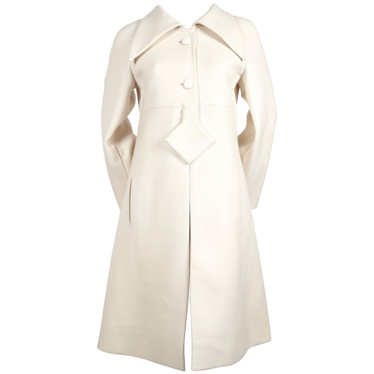 Pierre Cardin Haute Couture cream wool coat, 1970s