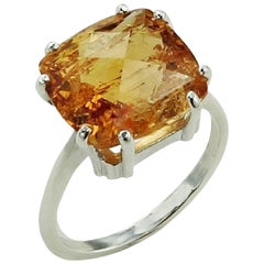 Orange Imperial Topaz in Sterling Silver Ring