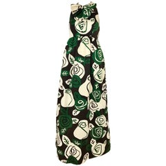 1960s Geoffrey Beene Green and White Floral Print Sleeveless Maxi Dress with Bow