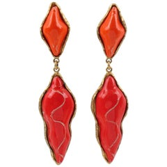 Dominique Denaive Paris Signed Orange & Red Ceramic Dangling Clip on Earrings