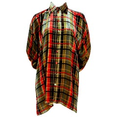 Jean Paul Gaultier oversized plaid velvet top, 1990s
