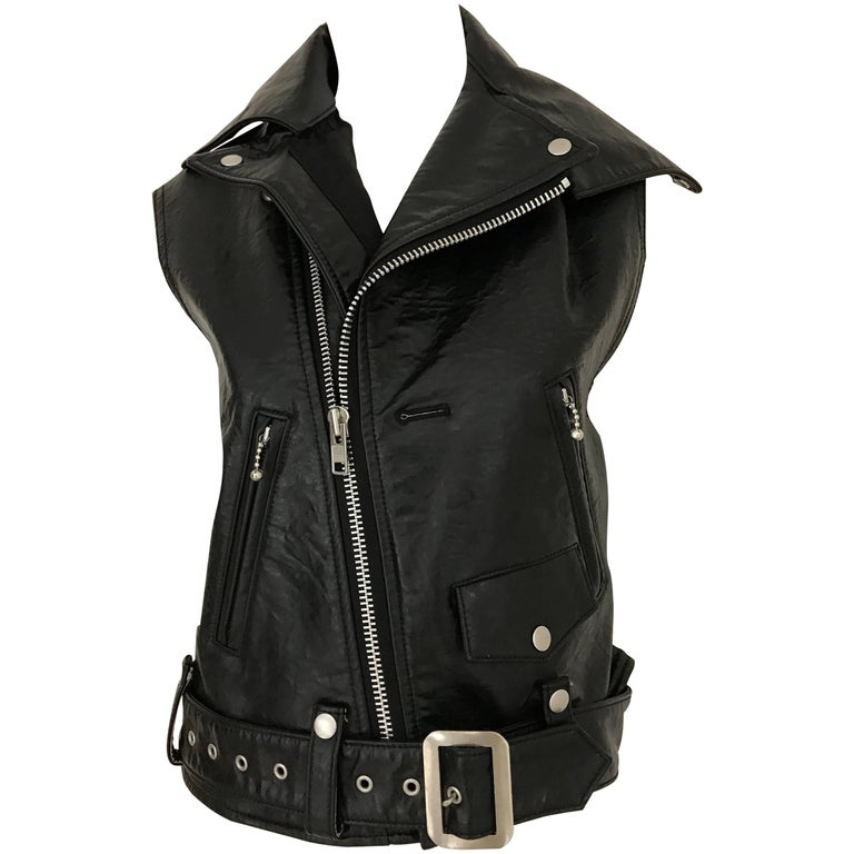 Junya Watanabe Black  Deconstructed Leather Vest For Sale