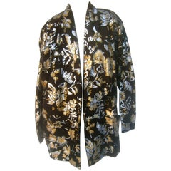1980s Black Plush Suede Floral Metallic Jacket Size L
