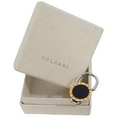 Bulgari gold onyx stainless steel keychain 2000s original box made italy