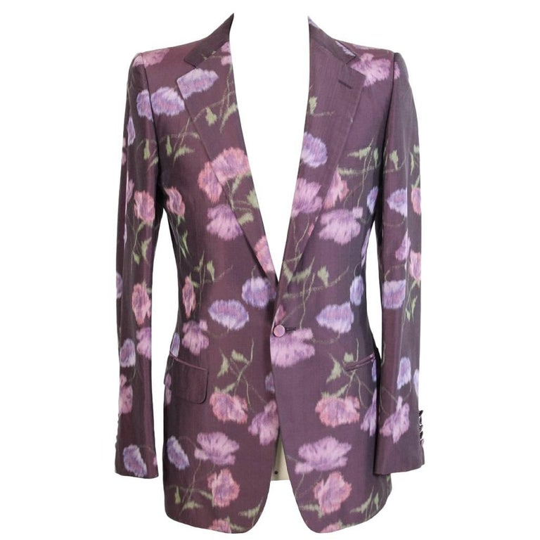 Tom Ford For Gucci Floral Blazer Purple Cotton Italian Jacket, 2000s