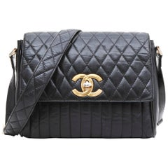 CHANEL Vintage Double Flap Bag in Black Smooth Quilted Lamb Leather