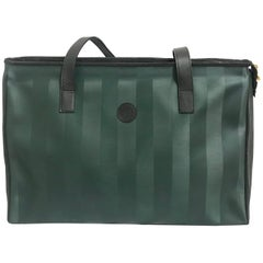 listings Vintage FENDI classic dark green pecan stripe large shopper tote bag.
