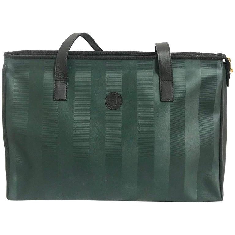 listings Vintage FENDI classic dark green pecan stripe large shopper tote bag.