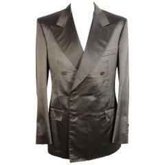 Gucci Tom Ford silk green double breasted jacket smoking men's 2000s size 48 it