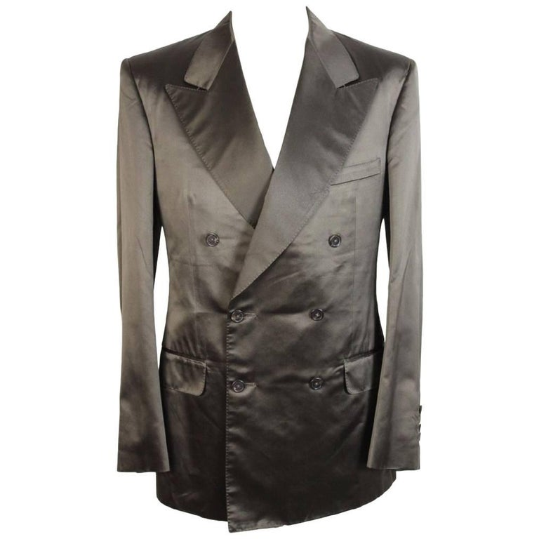 Tom Ford For Gucci Double Breasted Dark Green Silk Italian Jacket, 2000s