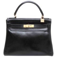 HERMES Vintage Kelly 28 Flap Bag in Black Box Leather