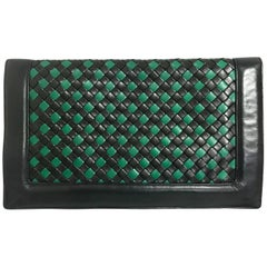 Vintage Bottega Veneta intrecciato navy and green large clutch bag, unisex purse