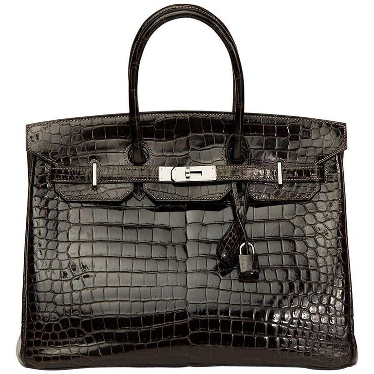 Hermes Graphite Porosus Crocodile Leather Birkin 35cm For Sale.