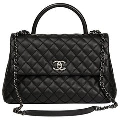 Chanel Black Quilted Caviar Leather Large Coco Handle