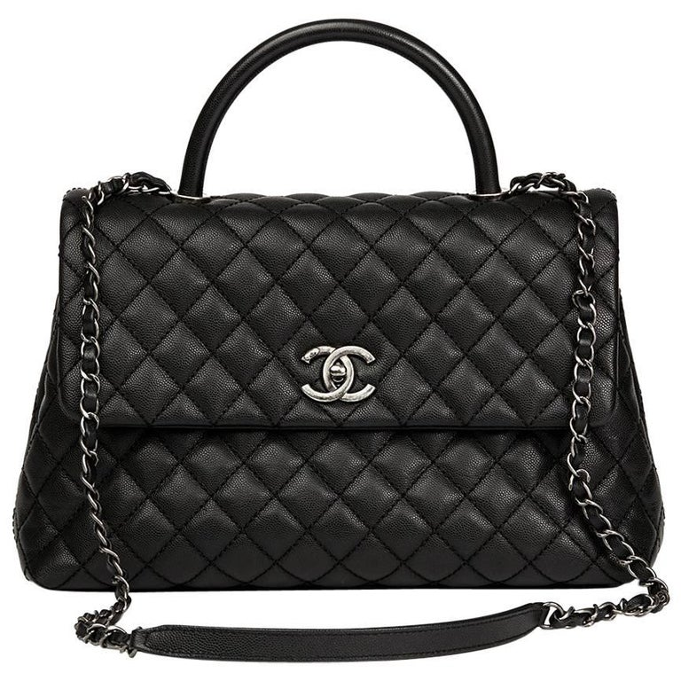 Chanel Black Quilted Caviar Leather Large Coco Handle  For Sale