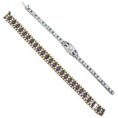1920s Set of Paste Stone and Sterling Sapphire Glass Bracelets