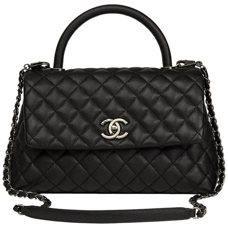Chanel Black Quilted Caviar Leather Medium Coco Handle  For Sale
