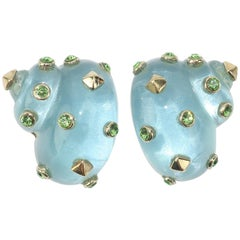 Replica Italian Resin Nautilus Clip On Earrings