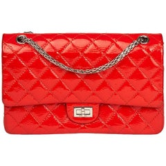 2011 Chanel Coral Orange Patent Leather 2.55 Reissue 226 Double Flap Bag