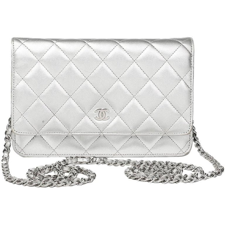 Chanel Silver Quilted Lambskin Wallet On Chain