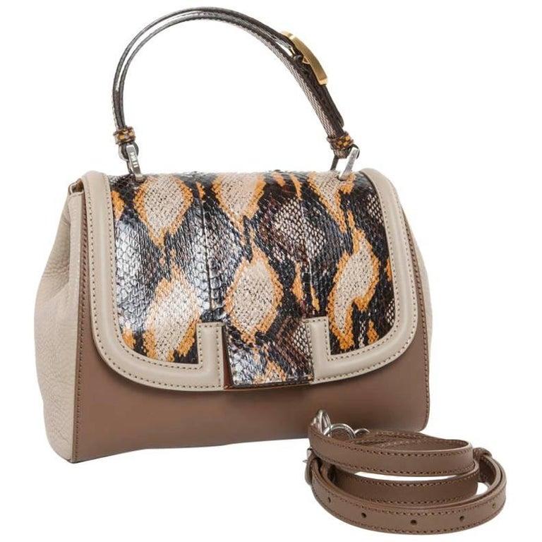 Fendi 'Silvana' Bag Bi-Material in Brown and Beige Leather and Lizard