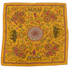 "2008 Hermes Silk Scarf ""Carre Kantha"" in Orange ,Khaki and Fuschia"