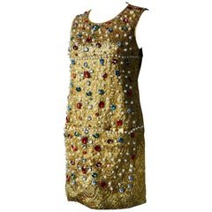 Couture Evening Dress Gold Woven Cord with Multicolored Large Jewels and Pearls