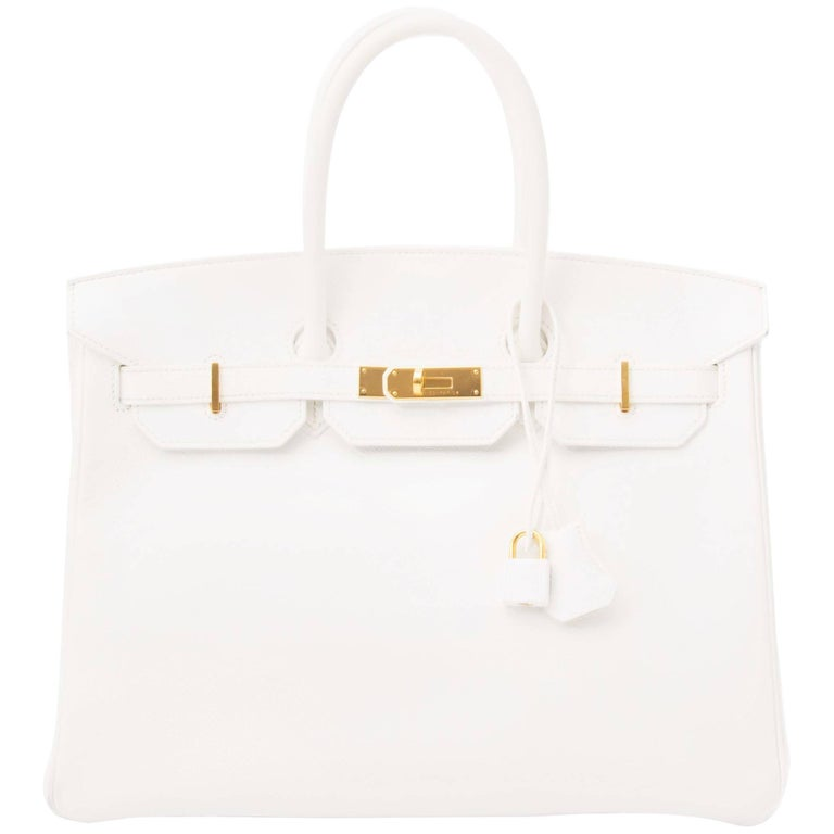 Hard To Find Hermes White Epsom Birkin 35 GHW