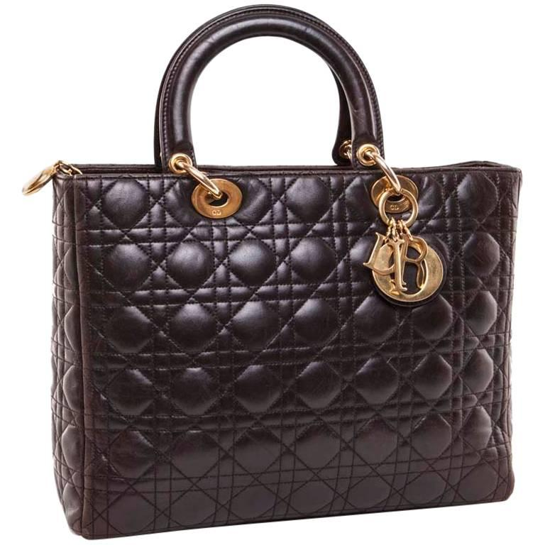 CHRISTIAN DIOR Lady Dior in Brown Quilted Leather