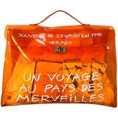 Vintage Hermes a rare orange transparent vinyl Kelly bag, Japan Limited Edition.