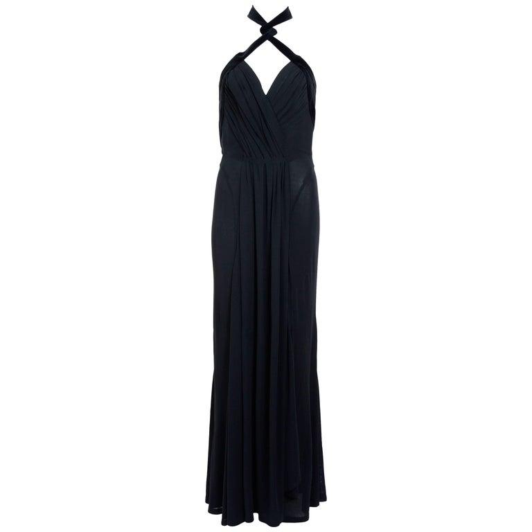 Thierry Mugler Vintage Silk Jersey Velvet Trimmed Evening Dress