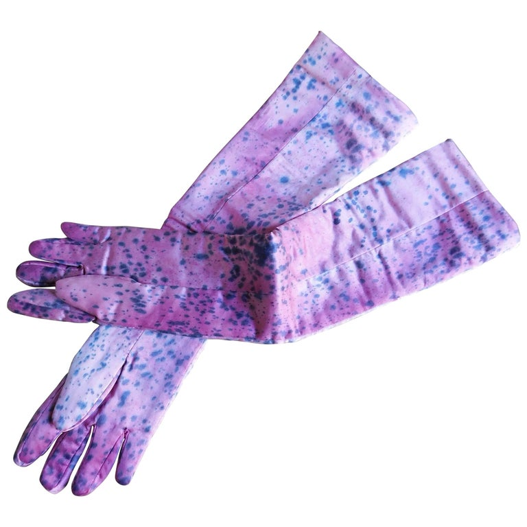 Katrien Van Hecke Long Pink Silk Gloves with Hand Dyed Spatter Pattern