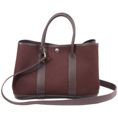Hermes Garden Party PM Bag Canvas and Leather with Shoulder Strap