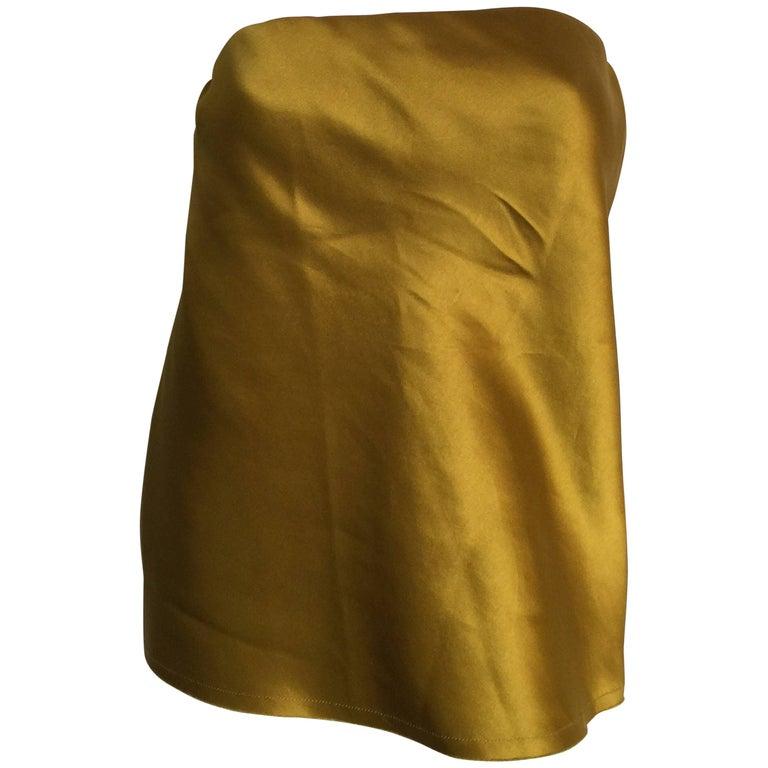 Lanvin silk chartreuse strapless blouse