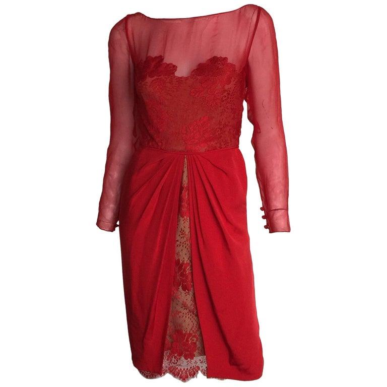 Bill Blass red silk and lace dress