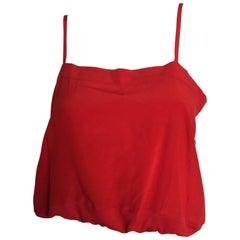 Chloe cherry red silk crop top