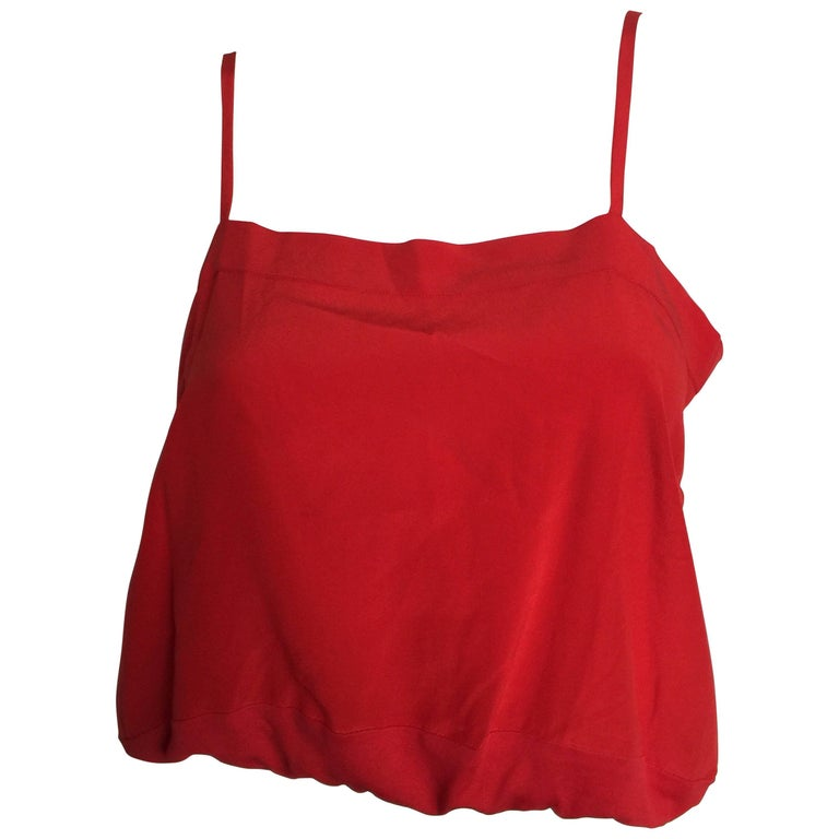 Chloe cherry red silk crop top