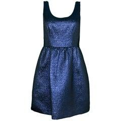 Shoshanna Navy & Black Metallic Sleeveless Cocktail Dress Sz 4