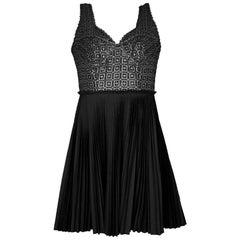 Catherine Malandrino Black & Charcoal Eyelet Dress Sz 4