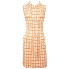 Chanel Coral and White Plaid Tweed Sleeveless Dress with Pearl Buttons-36-01P