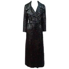 Vintage Black Sequin Full Length Trench Coat - M - Circa 70's