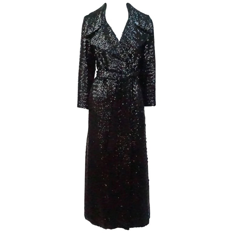 Vintage Black Sequin Full Length Trench Coat - M - Circa 70's For Sale