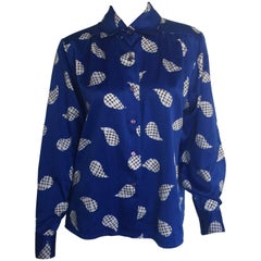 Oscar de la Renta royal blue printed blouse