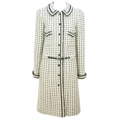 Chanel Ivory and Black Patterned Wool Tweed Coat/Dress with Belt - 36 - 00A
