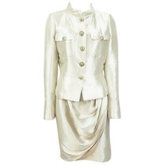 Chanel Gold Metallic Silk Lame Skirt Suit with Gripoix Buttons - 40