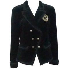 Chanel Black Velvet Jacket with Fringe Detail and Gold Beaded Crest - 42
